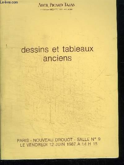 CATALOGUE DE VENTE AUX ENCHERES : DESSINS ET TABLEAUX ANCIENS - PASTELS AQUARELLES ET GOUACHES - TABLEAUX - NOUVEAU DROUOT - VENDREDI 12 JUIN 1987