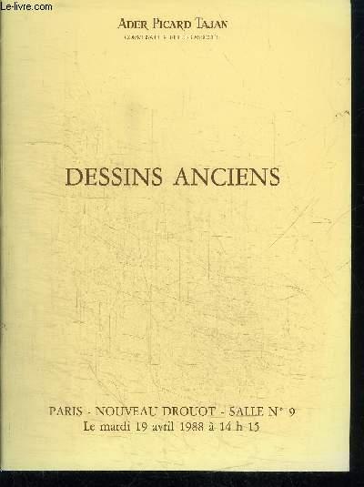 CATALOGUE DE VENTE AUX ENCHERES : DESSINS ANCIENS - NOUVEAU DROUOT MARDI 19 AVRIL 1988