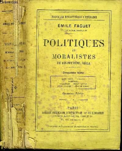 POLITIQUES ET MORALISTES DU 19E SIECLE - 2EME SERIE - SAINT-SIMON, FOURIER, LAMENNAIS, BALLANCHE, ADGAR, QUINET, VICTOR COUSIN, AUGUSTE COMTE