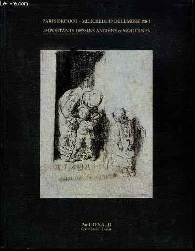 CATALOGUE DE VENTE AUX ENCHERES : PARIS DROUOT MERCREDI 19 DECEMBRE 2001 - IMPORTANTS DESSINS ANCIENS ET MODERNES