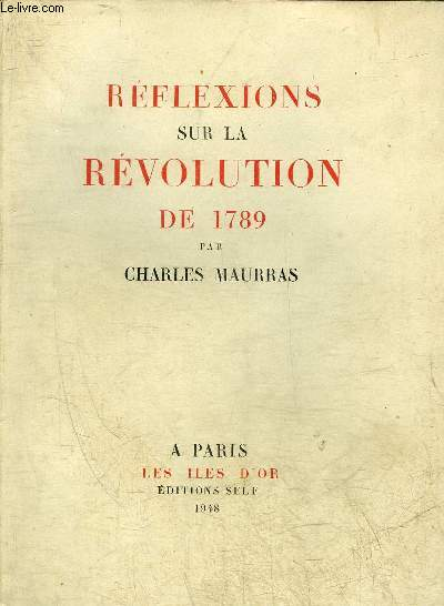 REFLEXIONS SUR LA REVOLUTION DE 1789.