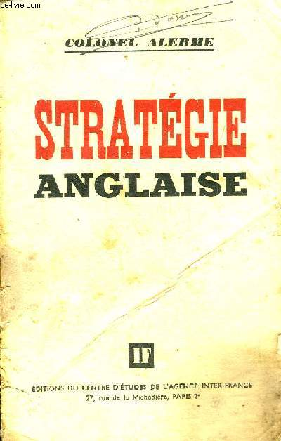 STRATEGIE ANGLAISE.