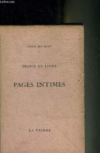 PAGES INTIMES - POUR MA JOIE.