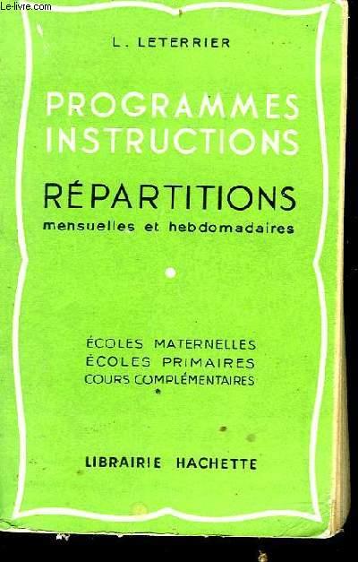 PROGRAMME, INSTRUCTION, REPARTITIONS - MENSUELLES ET HEBDOMADAIRES