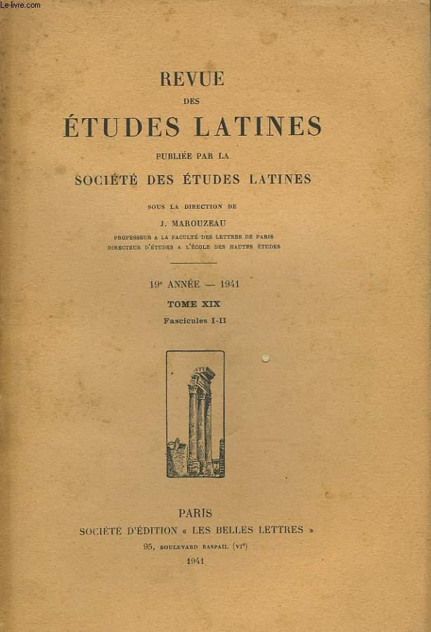 REVUE DES ETUDES LATINES