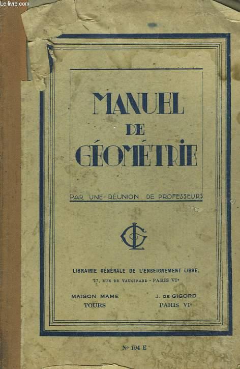 MANUEL DE GEOMETRIE. BREVET ELEMENTAIRE. 5e EDITION.