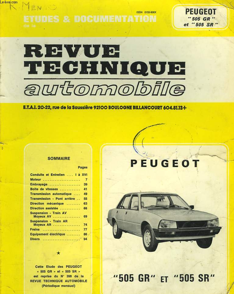 ETUDES ET DOCUMENTATIONS DE LA REVUE TECHNIQUE AUTOMOBILE PEUGEOT