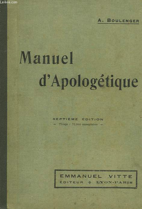 MANUEL D'APOLOGETIQUE