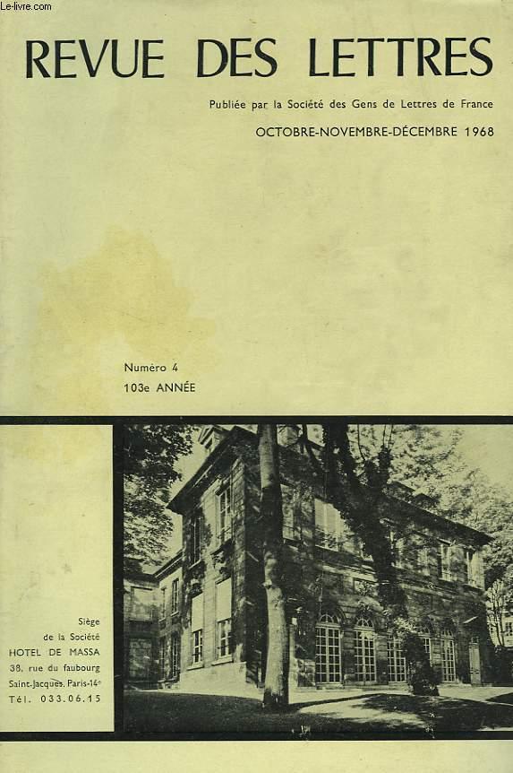 REVUE DES LETTRES PUBLIEE PAR LA SOCIETE DES GENS DE LETTRES, N4. 103e  ANNEE.