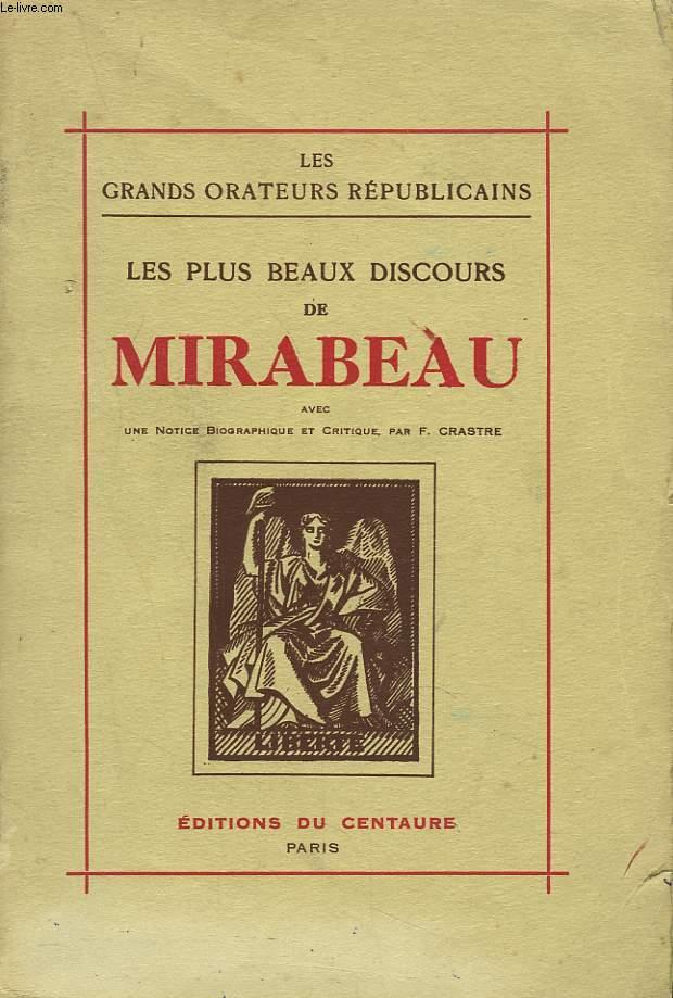 LES PLUS BEAUX DISCOURS DE MIRABEAU