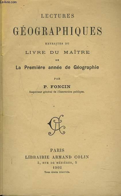 LECTURES GEOGRAPHIQUES EXTRAITES DU LIVRE DU MAÎTRE DE LA PREMIERE ANNEE DE GEOGRAPHIE