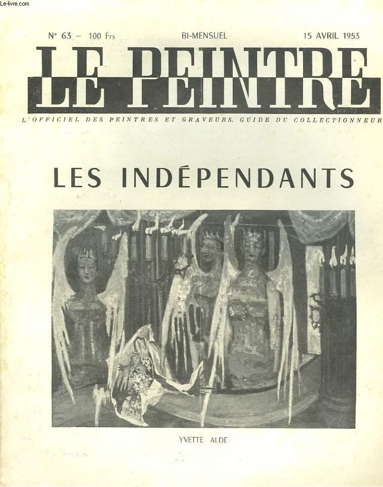 Le peintre n 63 15 avril 1953 les independants yvette for Le salon des independants