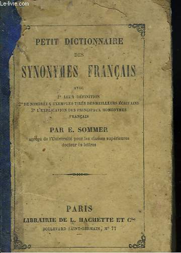 PETIT DICTIONNAIRE DES SYNONYMES FRANCAIS