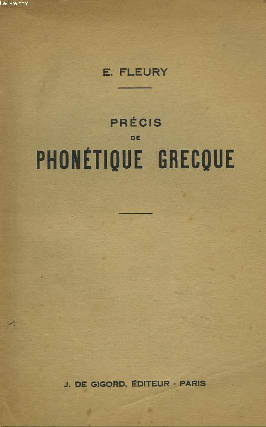 PRECIS DE PHONETIQUE GRECQUE