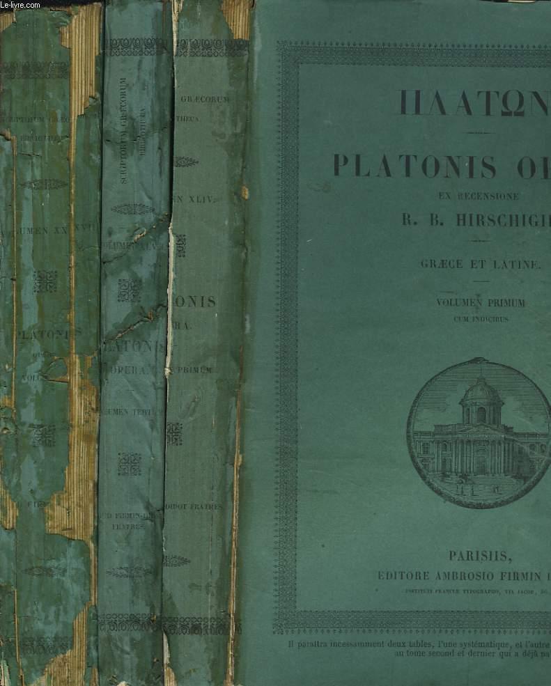 PLATONIS OPERA. EX RECENSIONE R.B. HIRSHIGII. GRAECE ET LATINE. EN 3 VOLUMES.
