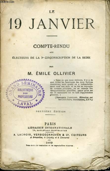 LE 19 JANVIER. COMTE-RENDU AUX ELECTEURS DE LA 3e CIRCONSCRIPTION DE LA SEINE