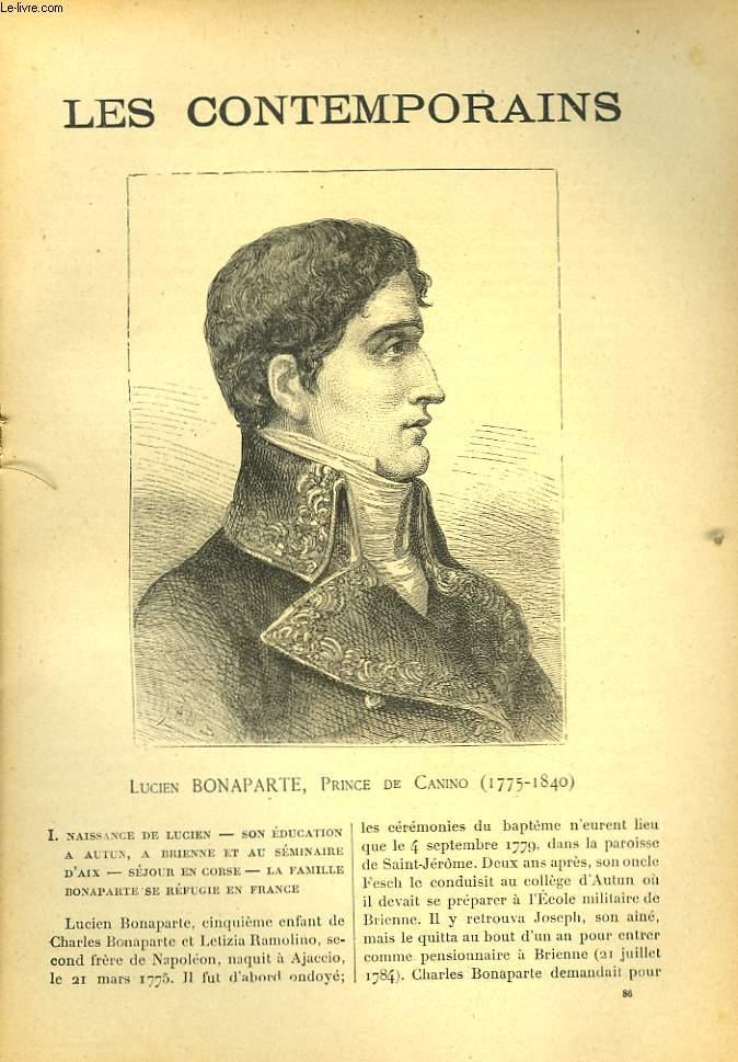 LES CONTEMPORAINS N°86. LUCIEN BONAPARTE, PRINCE DE CANINO (1775-1840).
