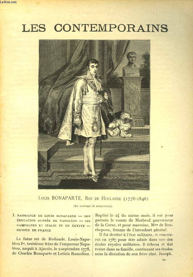 LES CONTEMPORAINS N°592. LOUIS BONAPARTE, ROI DE HOLLANDE (1778-1846).