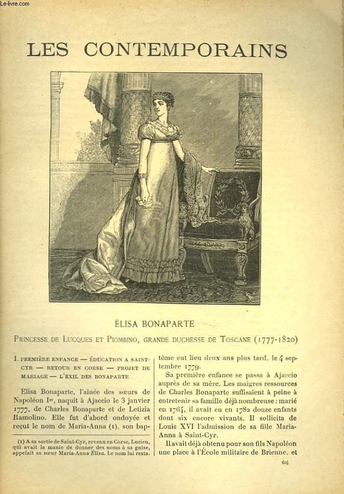 LES CONTEMPORAINS N°604. ELISA BONAPARTE. PRICESSE DE LUQUES ET PIOMBINO, GRANDE DUCHESSE DE TOSCANE (1777-1820).
