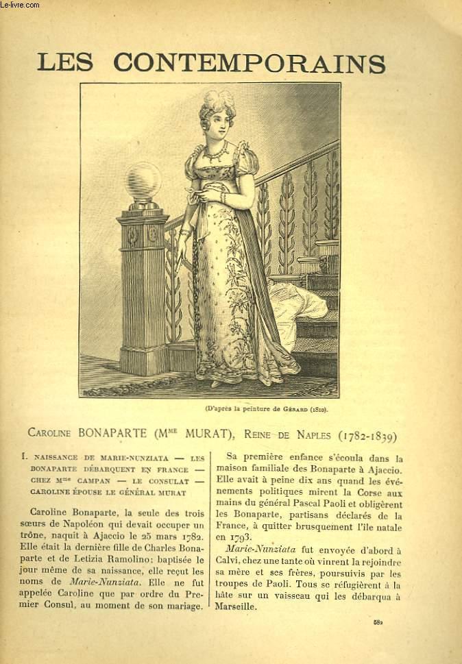 LES CONTEMPORAINS N°582. CAROLINE DE BONAPARTE (Mme MURAT), REINE DE NAPLES (1782-1839).
