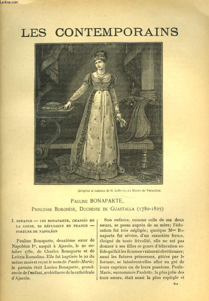 LES CONTEMPORAINS N°612. PAULINE BONAPARTE, PRINCESSE BORGHESE, DUCHESSE DE GUASTALLA (1780-1825).