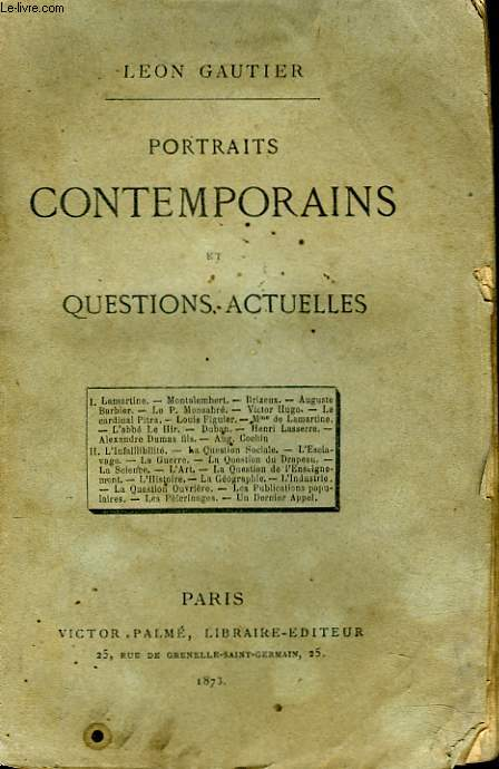 PORTRAITS CONTEMPORAINS ET QUESTIONS ACTUELLES