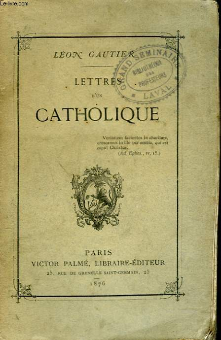 LETTRES D'UN CATHOLIQUE.