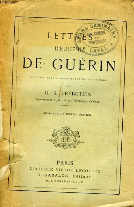 LETTRES D'EUGENIE DE GUERIN