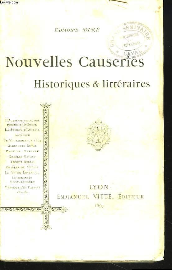 NOUVELLES CAUSERIES HISTORIQUES ET LITTERAIRES