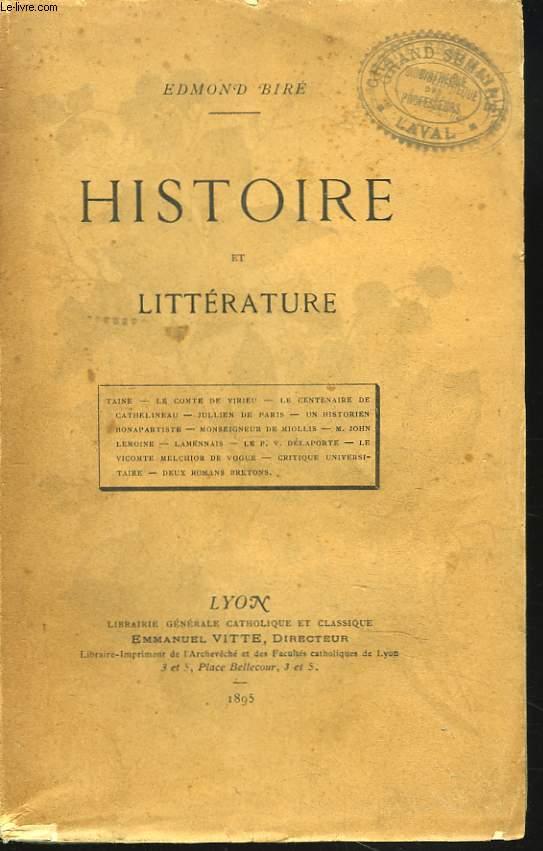 HISTOIRE ET LITTERATURE.