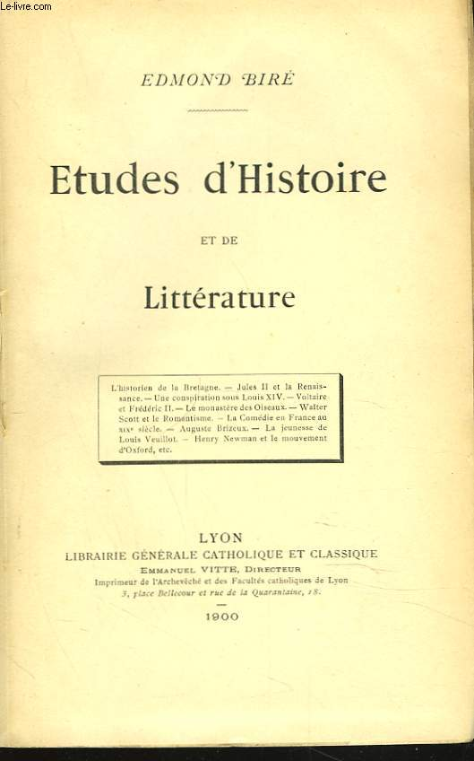 ETUDES D'HISTOIRE ET DE LITTERATURE.
