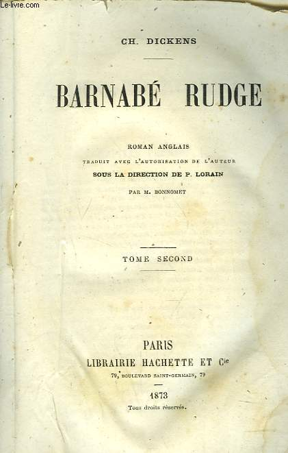 BARNABE RUDGE. TOME SECOND.
