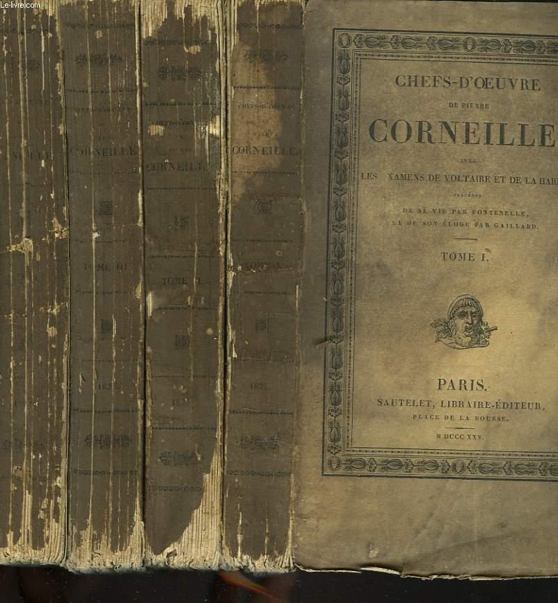 CHEFS-D'OEUVRE avec LES EXAMENS DE VOLTAIRE ET DE LA HARPE. EN 3 TOMES + CHEFS D'OEUVRE DE T. CORNEILLE précédés de SON ELOGE HISTORIQUE PAR DE BOZE.