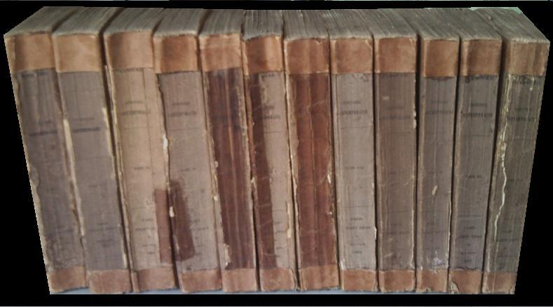 HISTOIRE CONTEMPORAINE. EN 12 TOMES (Complet). Comprenant les principaux évenements qui se sont accomplis depuis la REVOLUTION DE 1830 jusqu'à nos jours et résumant durant la même période, le mouvement social, artistique et littéraire.