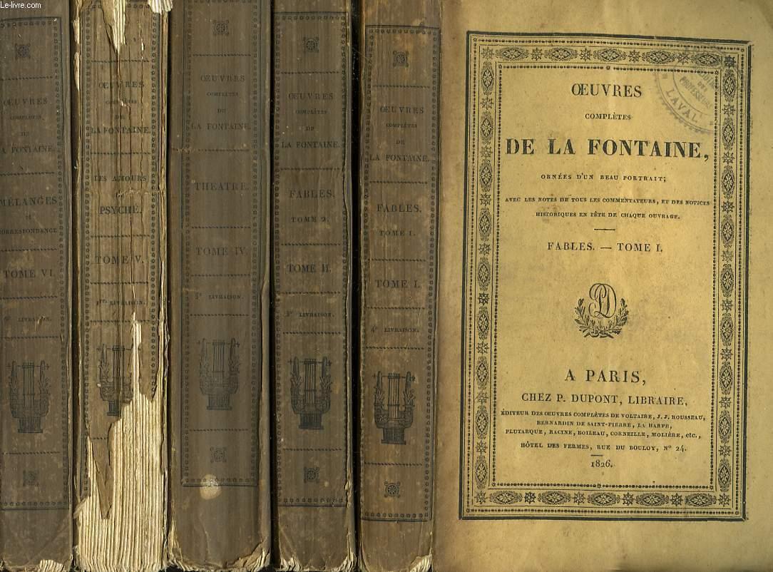 OEUVRES COMPLETES. TOMES I, II, IV, V et VI. (MANQUES LE TOME III) Avec les Notes de tous les Commentaires, et des Notices Historiques ern tête de Chaque Ouvrage.