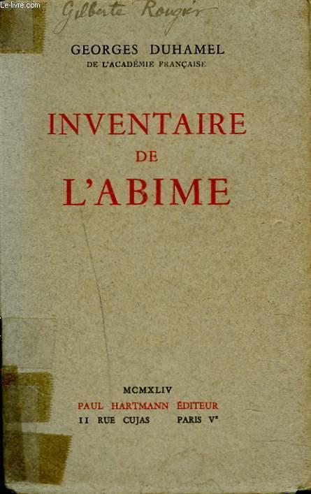 INVENTAIRE DE L'ABIME 1884-1901.