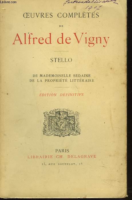 OEUVRES COMPLETES. STELLO. De Mademoiselle Sedaine. De la Propriété Littéraire.