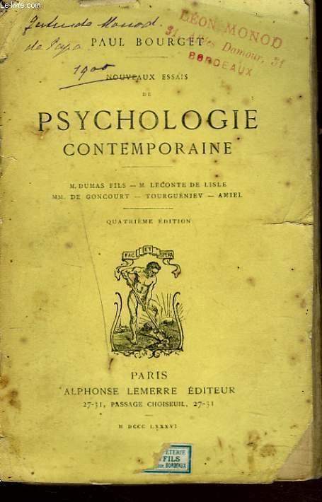 NOUVEAUX ESSAIS DE PSYCHOLOGIE CONTEMPORAINE. M. Dumas Fils, M. Leconte de Lisle, MM. De Goncourt, Tourgueniev, Amiel.