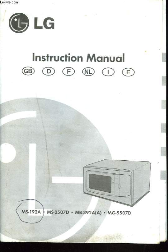 MANUEL D'INSTRUCTION MICRO-ONDES LG. MS-192A