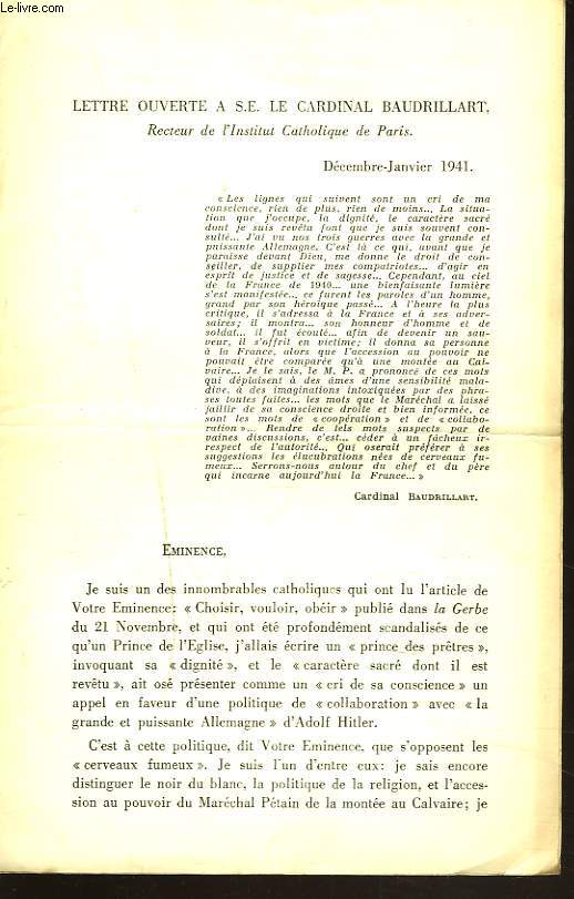 LETTRE OUVERTE A S.E. LE CARDINAL BAUDRILLART, DECEMBRE-JANVIER 1941.
