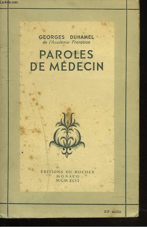 PAROLES DE MEDECIN