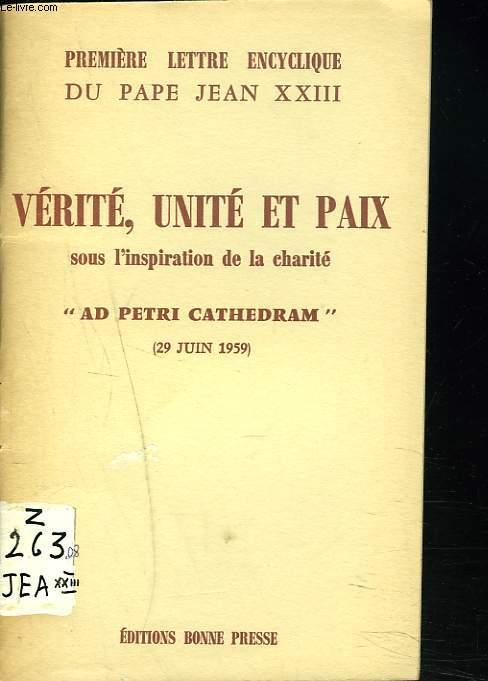 VERITE, UNITE ET PAIX SOUS L'INSPIRATION DE LA CHARITE