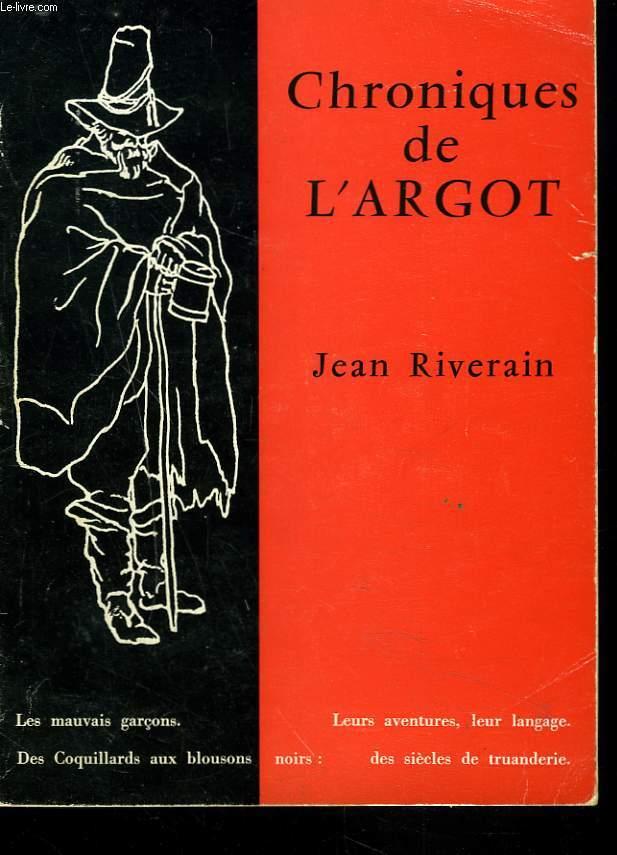 CHRONIQUES DE L'ARGOT