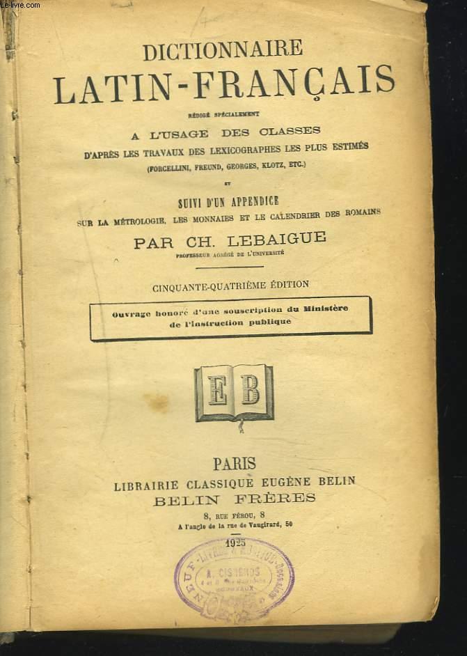 DICTIONNAIRE LATIN-FRANCAIS. 54e édition.