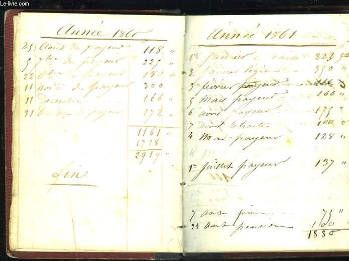 CARNET DE COMPTES MENAGER DE 1856 à 1863.