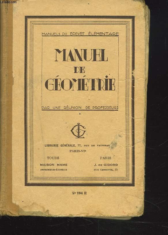 MANUEL DE GEOMETRIE