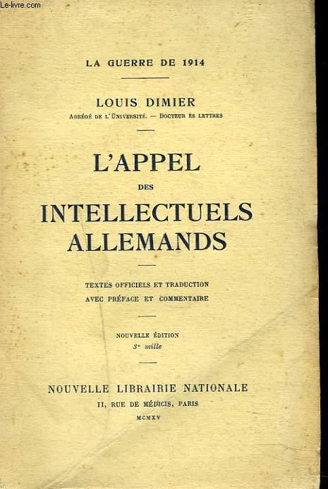 L'APPEL DES INTELLECTUELS ALLEMANDS.