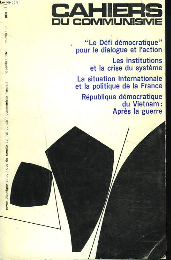 CAHIERS DU COMMUNISME N°11, NOVEMBRE 1973.