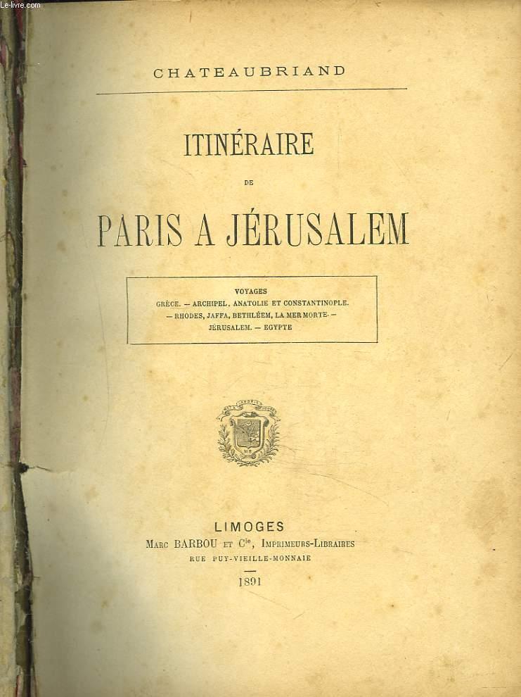 ITINERAIRE DE PARIS A JERUSALEM.