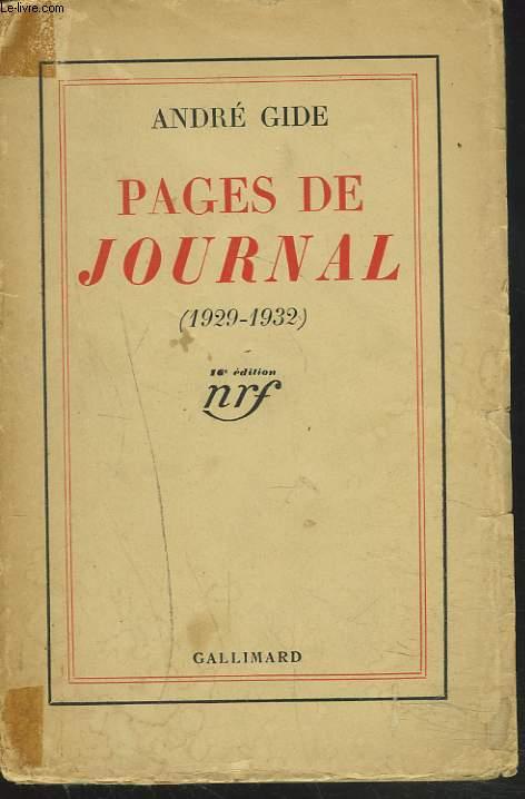 PAGES DE JOURNAL 1929-1932.